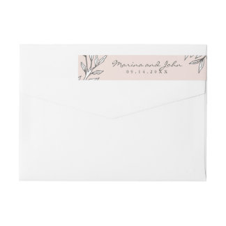 Blush Rustic Monogram Wreath Invitation Envelope Wrap Around Label