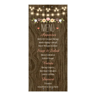 Blush String of Lights Rustic Fall Wedding Menu Rack Cards