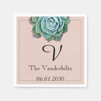 Blush Succulent Monogram Wedding Napkin Paper Serviettes
