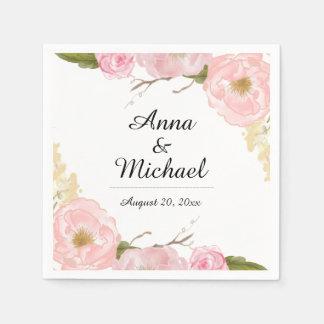 Blush White Botanical Floral Wedding Napkin Paper Serviettes