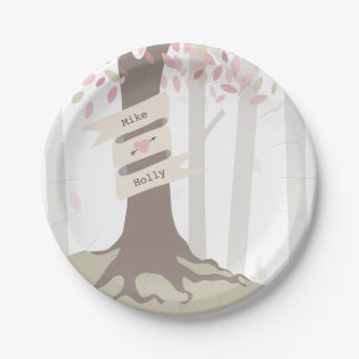Blush Woodland Wedding 7 Inch Paper Plate