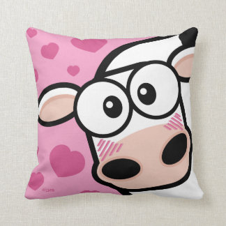 Blushing Cow with Hearts Cushion