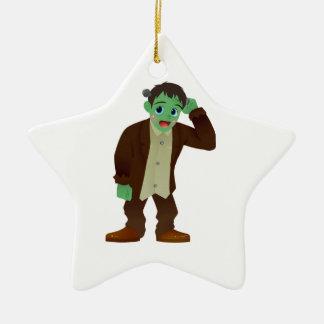 Blushing Frankenstein's Monster Scratching Head Christmas Ornament