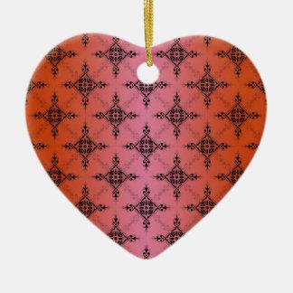 Blushing Vibrant Orange Damask Pattern Ceramic Heart Decoration