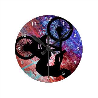 BMX on Rusty Grunge Round Clock