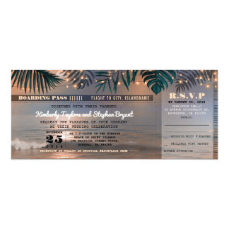 Boarding Pass Tropical Beach Lights Wedding Ticket Card