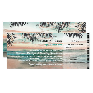 Boarding Pass Tropical Beach Wedding Tickets RSVP Card