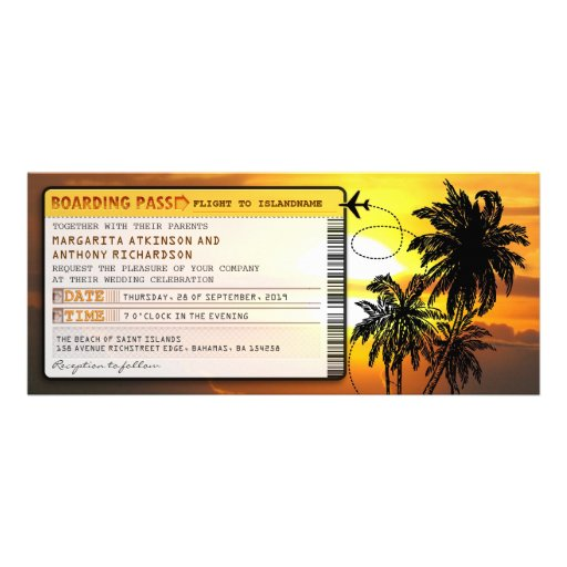 boarding pass wedding tickets-invites with sunset