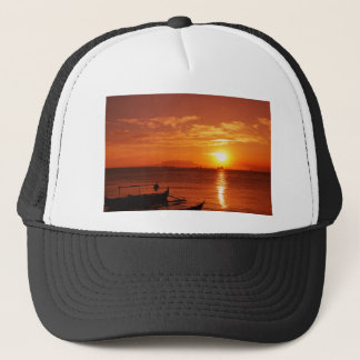 boat and sunset trucker hat