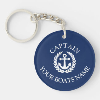 Boat name and captains nautical anchor key ring