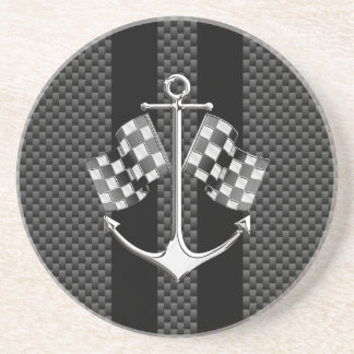 Boat Racing Nautical in Carbon Fiber Decor Coaster