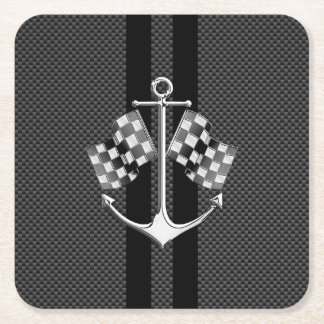 Boat Racing Nautical in Carbon Fiber Style Square Paper Coaster