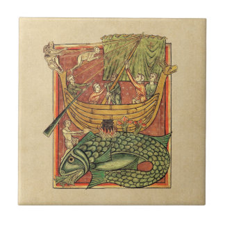 Boat Shipwrecked on a Whale Small Square Tile