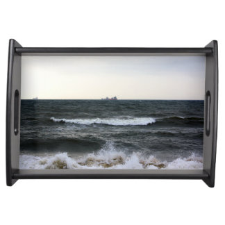 Boats and Surge in the Atlantic Ocean from the coa Serving Tray