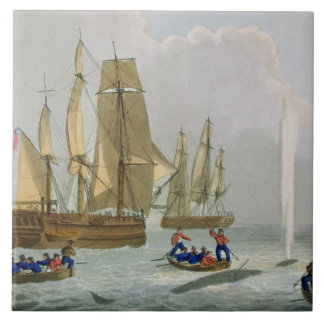 Boats Approaching a Whale, engraved by Matthew Dub Large Square Tile