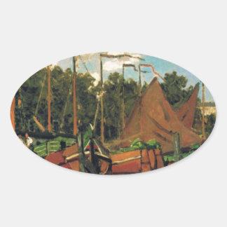 Boats at Zaandam by Claude Monet Oval Sticker