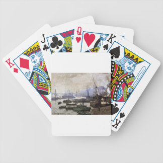 Boats in the Pool of London by Claude Monet Bicycle Playing Cards
