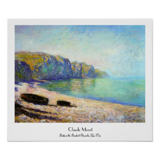 Boats on the Beach at Pourville, Low Tide Monet Poster