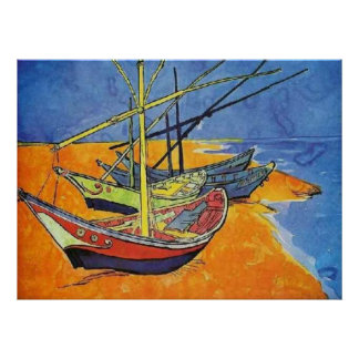Boats on the Beach by Vincent van Gogh Poster