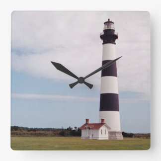 Bodie Island Lighthouse Square Wall Clock