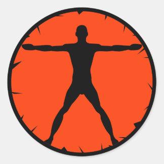 Body Madness Fitness Vitruvian Man Round Sticker Round Sticker