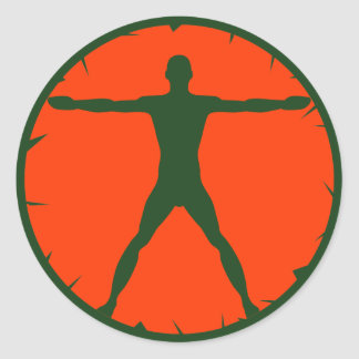 Body Madness Fitness Vitruvian Man Round Sticker Stickers
