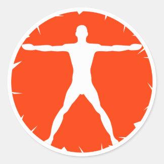Body Madness Fitness Vitruvian Man Round Sticker Round Stickers