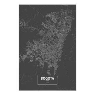 Bogota, Colombia (white on black) Poster