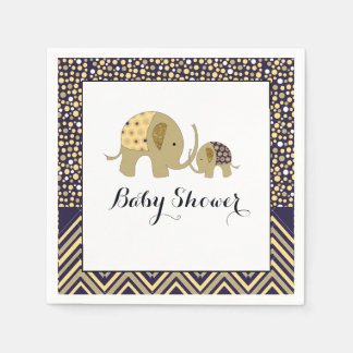 Bohemian Elephant and Chevron Baby Shower Paper Napkin