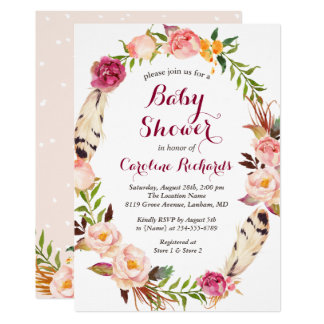 Bohemian Feather Boho Floral Wreath Baby Shower Card