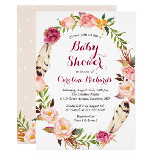 Baby shower invitations zazzle bohemian feather boho floral wreath baby shower invitation filmwisefo