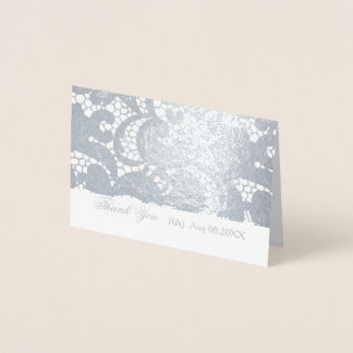 Bohemian Floral Lace Wedding Thank You Foil Card