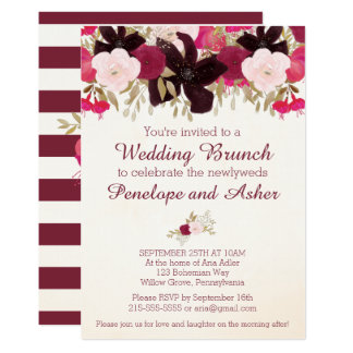 Bohemian Floral Post Wedding Brunch Invitation
