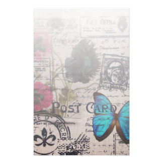 bohemian french country blue butterfly scripts stationery