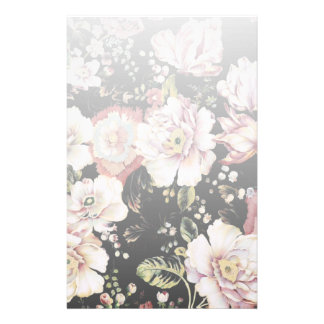 bohemian french country chic black floral stationery