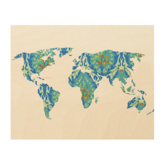 Bohemian Patterned World Map | Statement | Wood Wood Canvases