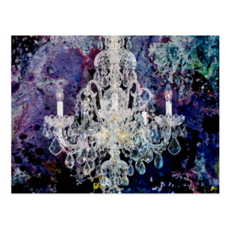 Bohemian Shabby Chic purple watercolor Chandelier Postcard