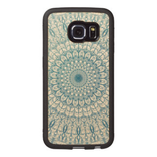 Bohemian Sky and Turquoise Blue Fractal Design Wood Phone Case