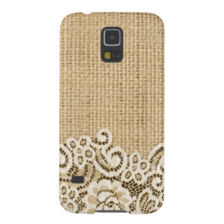 Bohemian Western country rustic burlap and lace Galaxy S5 Case