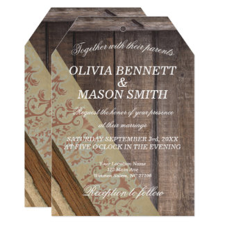 Bohemian Wood Wedding Card