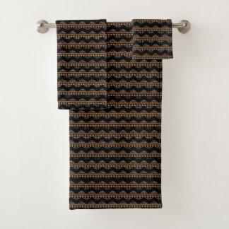 Boho Aztec Tribal Inspired Arrows Brown Black Bath Towel Set