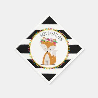 Boho Baby Fox Pompom Baby Shower Napkins Paper Napkin