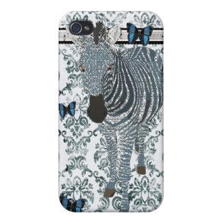 Boho Blue Butterfly & Zebra Grunge Damask C iPhone 4 Case