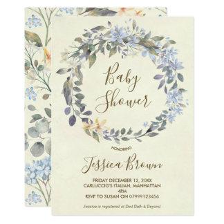 boho blue floral wreath baby shower invitation