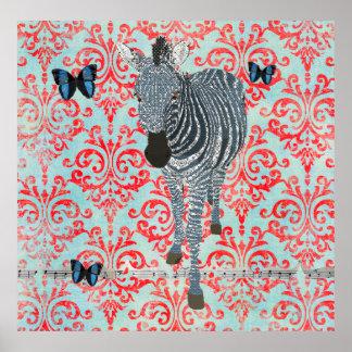 Boho Blue Zebra & Butterflies Damask Poster