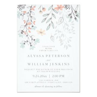 Boho Botanical Rustic Wedding in Coral and Gray 13 Cm X 18 Cm Invitation Card