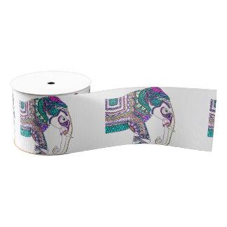 Boho bright watercolor tribal henna elephant grosgrain ribbon