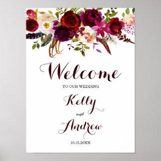Boho Burgundy Marsala Floral Welcome Wedding Sign