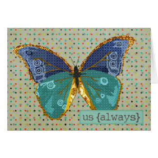Boho Butterfly Love  Valentine Greeting Card