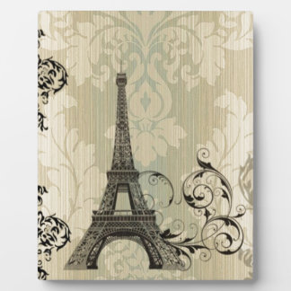 Boho Chic beige Damask Paris Eiffel Tower Plaque